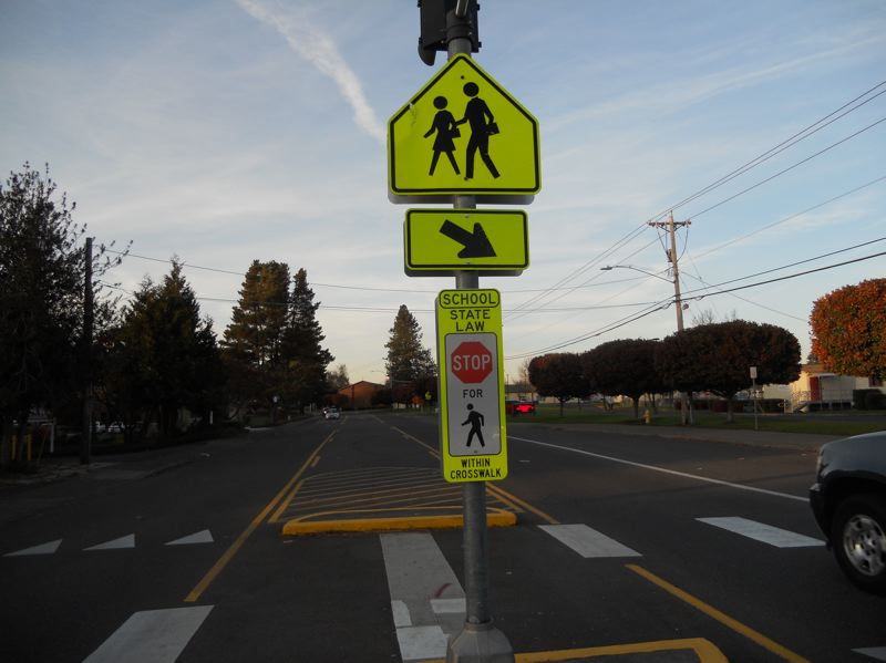 PMG PHOTO: SCOTT KEITH - This marked crosswalk was installed for pedestrian safety in one of Sherwood's school zones.