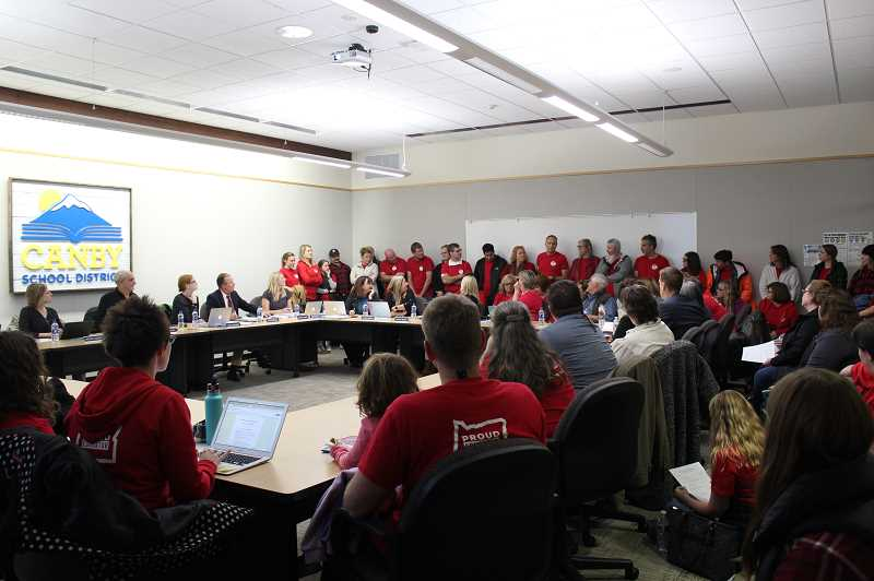 PMG PHOTO: KRISTEN WOHLERS - Canby teachers attend the Nov. 7 Canby School District board work session to contend for their requested pay increase that would inch them closer to making pace with inflation.