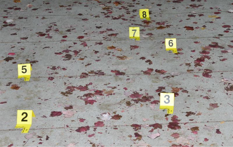 VIA PPB - Bullet casings were marked by investigators of a Friday night shooting in Portland.