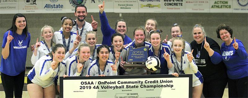PMG PHOTO: MILES VANCE - The Valley Catholic volleyball team left no doubt as to who was No. 1 on Saturday, Nov. 9, sweeping past Sweet Home 3-0 to win the Class 4A state championship at Forest Grove High School.