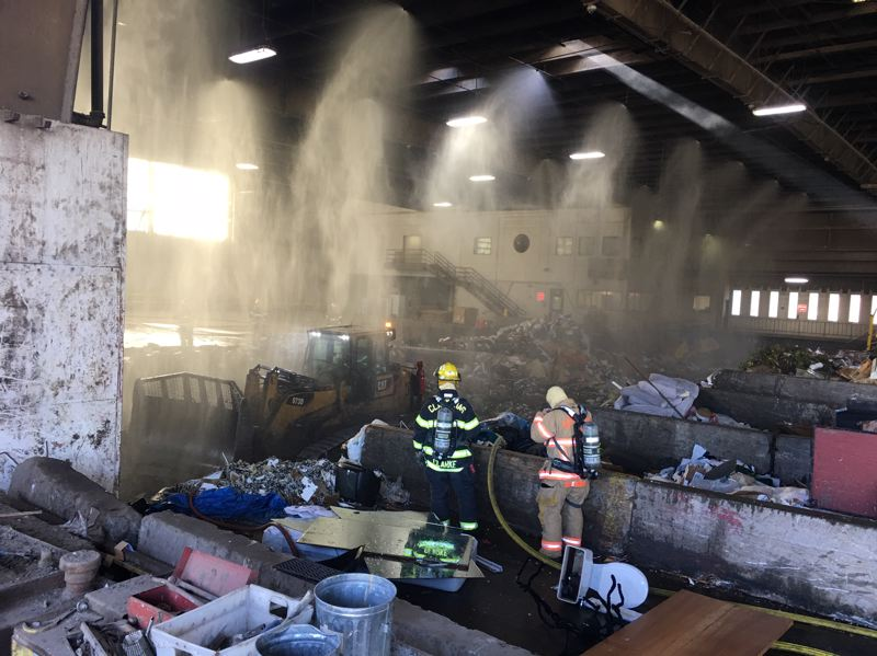 COURTESY PHOTO: CLACKAMAS FIRE - Clackamas firefighers put out the fire in the Oregon City dump's Bay 1 during the afternoon of Nov. 11.