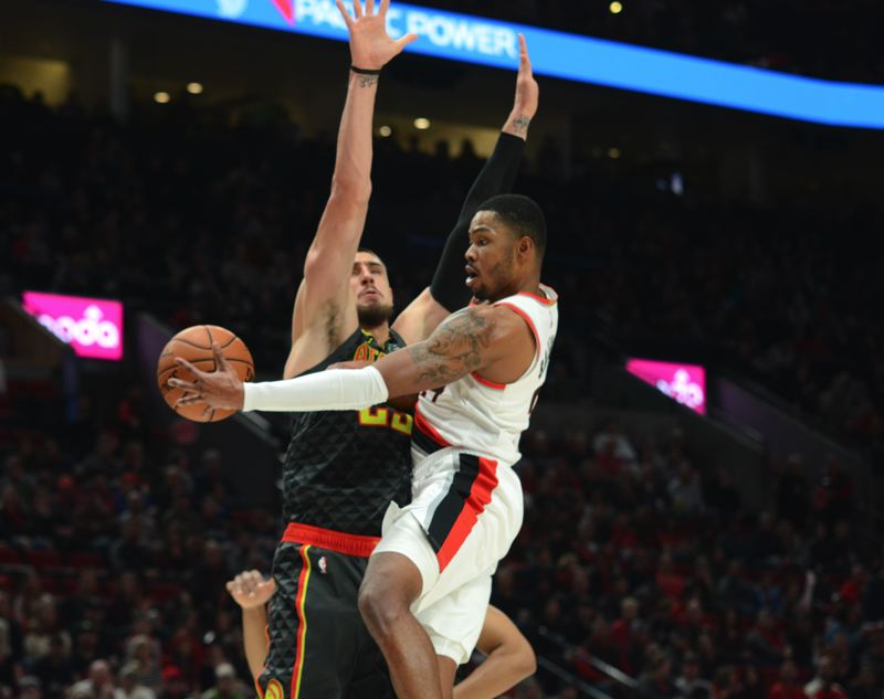 PMG PHOTO: DEREK WILEY - Kent Bazemore's play at both ends of the court made a big impact for the Trail Blazers on Sunday night as they held off the Atlanta Hawks at Moda Center.