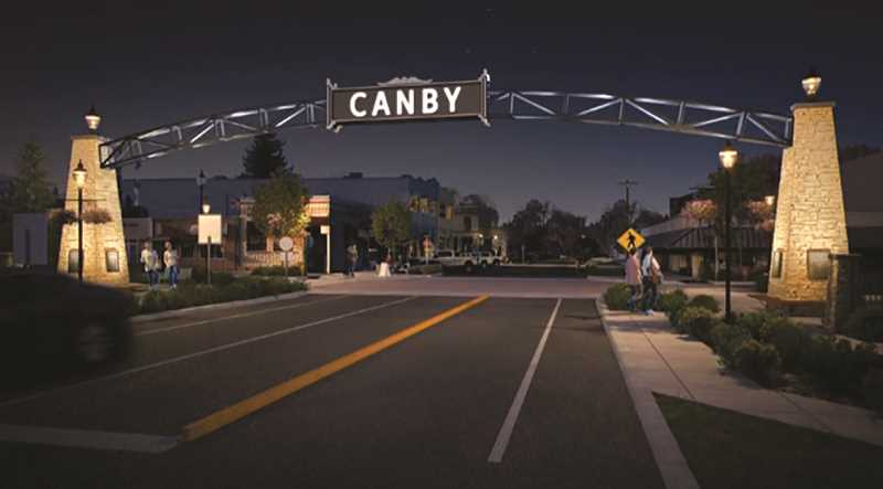 COURTESY PHOTO: SCOTT EDWARDS ARCHITECTS - An architect's rendering of what the Canby arch might look like at night if and when it comes to fruitition.