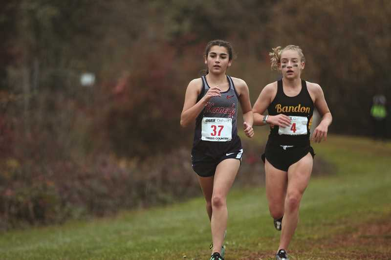 PMG PHOTO: PHIL HAWKINS - Kennedy junior Cassie Traeger led the Trojans at the 2019 3A/2A/1A Cross Country State Championships, finishing 25th with a personal-best time of 21:10.00.