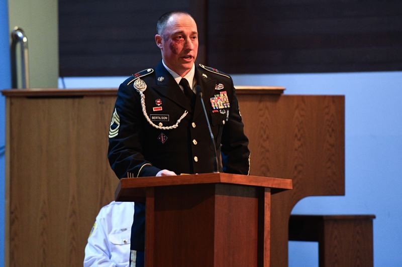 PMG PHOTO: CHRISTOPHER OERTELL - Master Sgt. Brandon Bertilson of Troutdale speaks about how the experience of military service changes people, and what kind of support soldiers and veterans need on the home front, during a Veterans Day ceremony in Beaverton on Monday, Nov. 11.