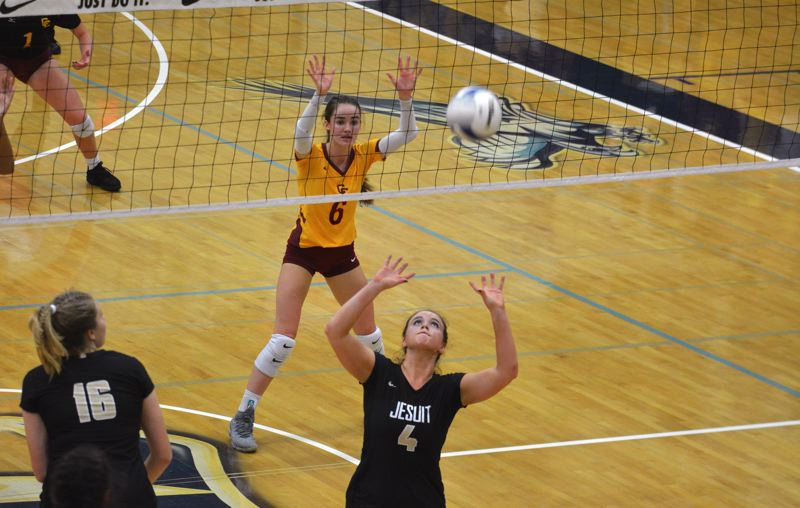 TIMES PHOTO: MATT SINGLEDECKER - Jesuit junior Alison Buchholz was named first-team all tournament for the Crusaders.