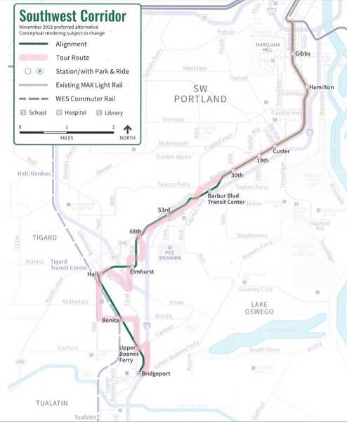 COURTESY OF TRIMET - A meeting to make recommendations on a final route for the Southwest Corridor Light Rail Project has been moved from Nov. 18 to Dec. 16.