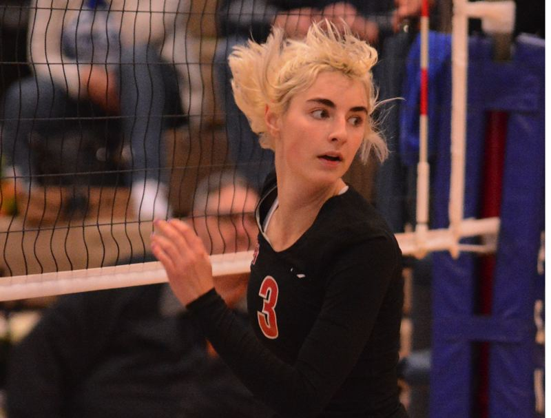 PMG PHOTO: DAVID BALL - Mt. Hood CC middle blocker Zoe Chatterton turns away from the net during the Saints four-set win at Clark College on Tuesday.