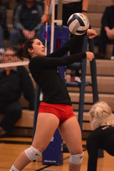 PMG PHOTO: DAVID BALL - Mt. Hood setter Gabby Sanchez plays a bump out of the front row.