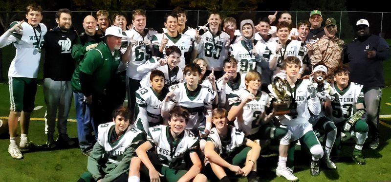 COURTESY PHOTO - The West Linn eighth-grade varsity football team had good reason to smile at the end of its 2019 season — the Lions went 10-0 and outscored their opponents by more than 300 points.