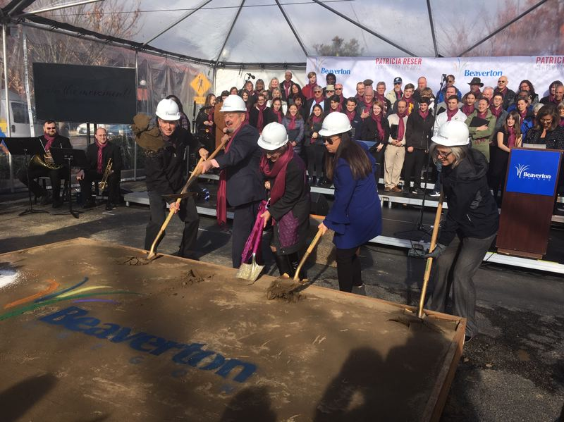 PMG PHOTO BY PETER WONG - Groundbreaking ceremony Wednesday, Nov. 13, for the Patricia Reser Center for the Arts in Beaverton. From left: Councilor Marc San Soucie, Mayor Denny Doyle, Pat Reser, Councilor Lacey Beaty, Councilor Cate Arnold.