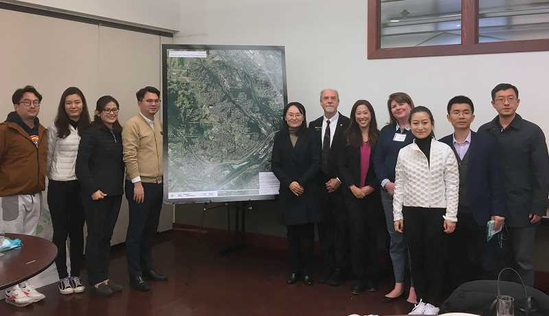 COURTESY PHOTO - Mayor Russ Axelrod, Councilor Jules Walters and former councilor Jenni Tan met with leaders from China visiting as part of a delegation for the American Council of Young Political Leaders