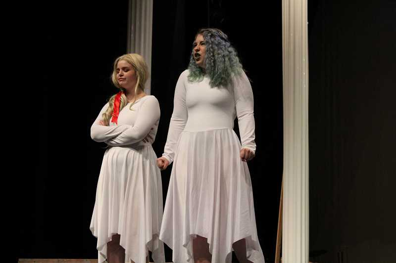 PMG PHOTO: GABBY URENDA - Forest Grove High School students play Greek muses in the musical 'Xanadu.' The show is based on the 1980s movie starring Olivia Newton-John and Gene Kelly.
