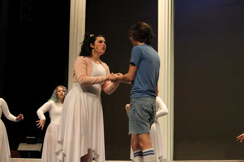 PMG PHOTO: GABBY URENDA - Forest Grove High School students play characters Clio (right) and Sonny (left), who are forbidden from falling in love.