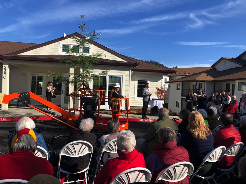 COURTESY: COURTYARD AT MT. TABOR - Residents of the Courtyard at Mt. Tabor senior living community turned out for the Oct. 31 grand opening of the Pavilion memory care building. The event included a tree-topping ceremony.