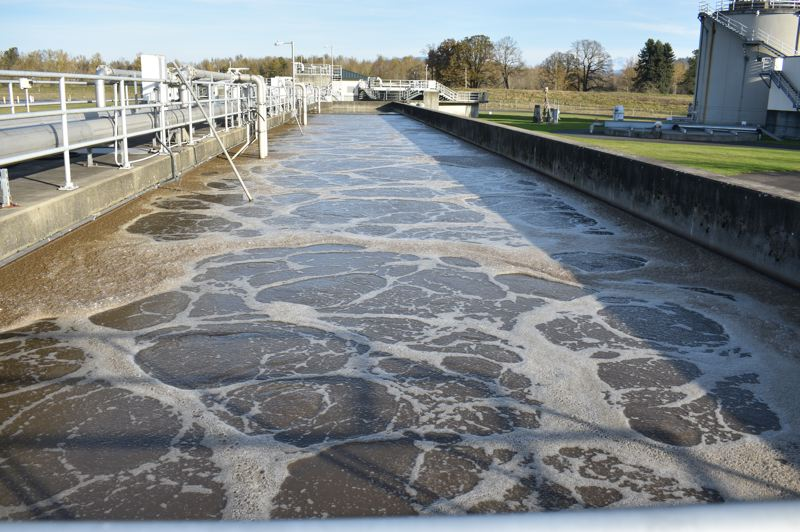 PMG PHOTO: SHANNON O. WELLS - The aeration basin at Troutdale's wastewater plant gives microorganisms a chance to break down and effectively clean water from the city's sewer system while the water is inundated with oxygen.