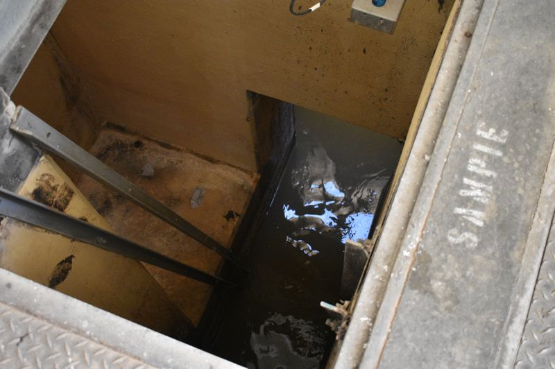 PMG PHOTO: SHANNON O. WELLS - This portal reveals untreated wastewater as it first flows into the treatment plant from 56 miles of Troutdale municipal sewer lines before grit, garbage and other large items are removed from the stream and eventually taken to a landfill.