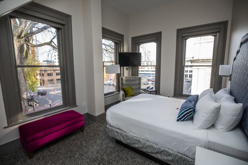 PMG PHOTO: JONATHAN HOUSE - A corner queen room, usually $150 a night, overlooking PNCA.