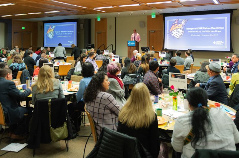 PMG PHOTO: CHRISTOPHER OERTELL - People gathered at Portland Community College's Rock Creek campus on Wednesday, Nov. 13, for a fundraiser to support undocumented students who use services at the college's DREAMers Resource Center.