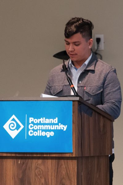 PMG PHOTO: CHRISTOPHER OERTELL - 2019-2020 DREAMers scholarship recipient Julio Morales tells his story during the 2019 DREAMers Breakfast at Portland Community College Rock Creek on Wednesday, Nov. 13,