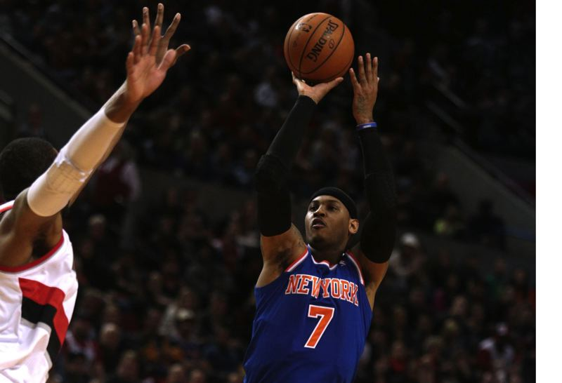 PMG FILE PHOTO: JONATHAN HOUSE - Carmelo Anthony puts up a jump shot in 2013 against the Trail Blazers -- now his new team.