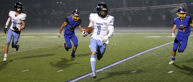 PMG PHOTO: MILES VANCE - Lakeridge senior kick returner Bryson Corbin and the Pacers came through to upset Aloha 51-40 at Aloha High School on Friday, Nov. 15.