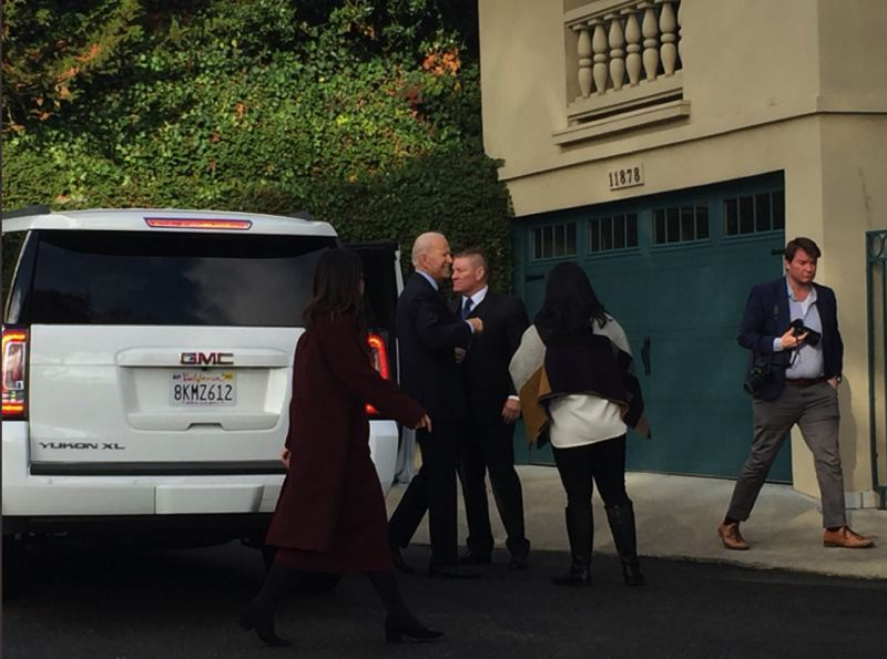 LISA BALICK/KOIN 6 NEWS - Joe Biden arrived in Portland on Saturday.