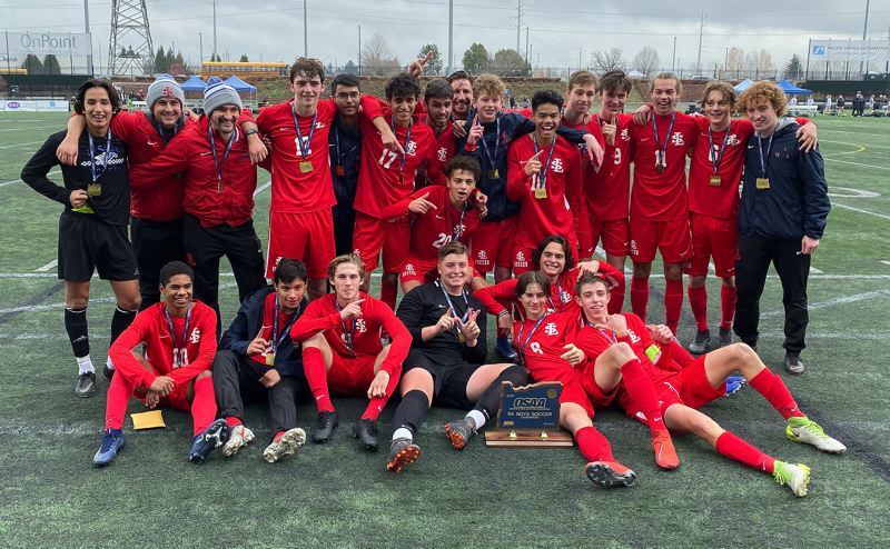 PMG PHOTO: JIM BESEDA - The La Salle Prep Falcons defeated Wilsonville 2-1 in Saturday's OSAA Class 5A boys soccer championship final at Hillsboro Stadium, clinching their sixth state title and first since 2009.