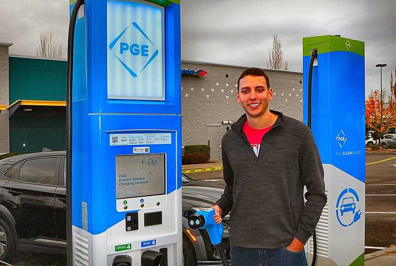DAVID F. ASHTON - These fuel pumps dispense 100% renewable electric energy from PGE, says Project Manager Rob Schulberg.