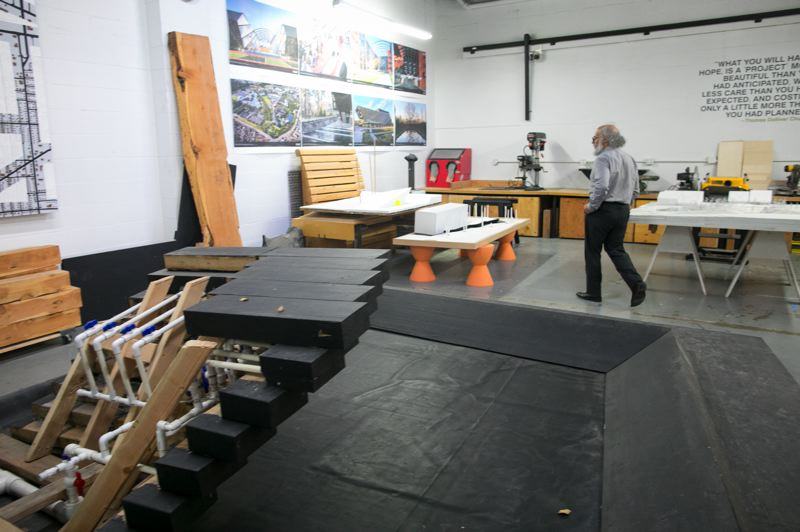 PMG PHOTO: JAIME VALDEZ - The workshop area of PLACE's Portland studio offers a space for the firm's team to build project models and create art. The firm also has studios in Seattle, Bogota, Tokyo and Singapore.