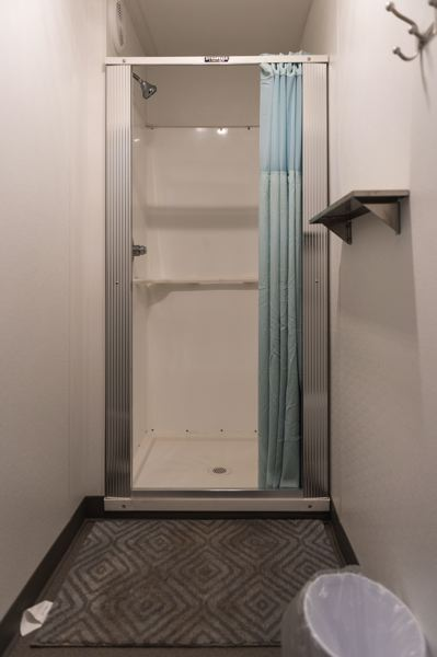 PMG PHOTO: CHRISTOPHER OERTELL - One of two shower stalls on a mobile shower trailer that will be available to guests staying at the Winter Shelter of Forest Grove and Cornelius this year.