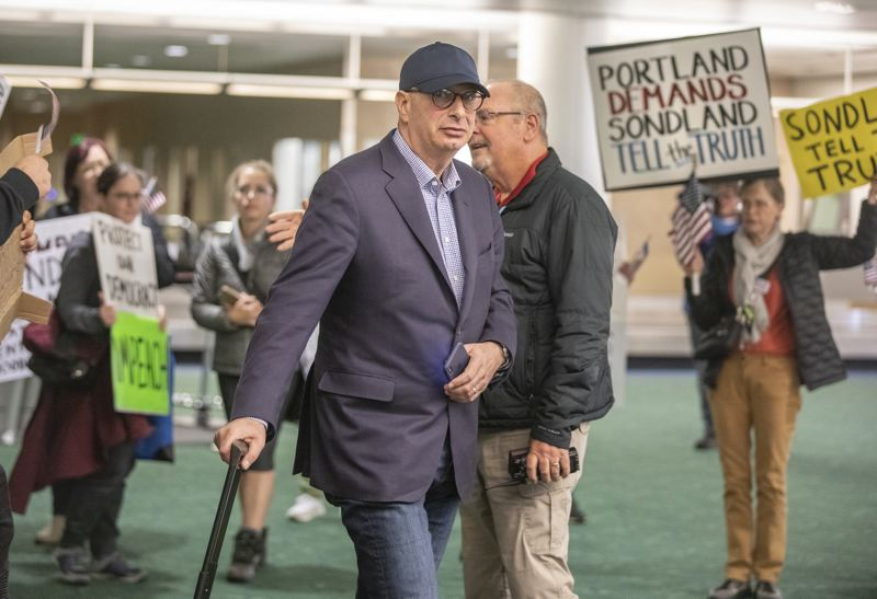 PMG PHOTO: JONATHAN HOUSE - Portland businessman Gordon Sondland was met by protesters earlier this month when he flew into Portland International Airport.