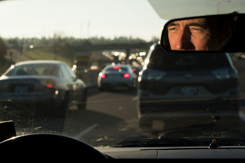 PMG PHOTO: JAIME VALDEZ - Eric Squires, who lives in who lives in the Cooper Mountain area near Beaverton, makes his way in morning traffic on Highway 217.
