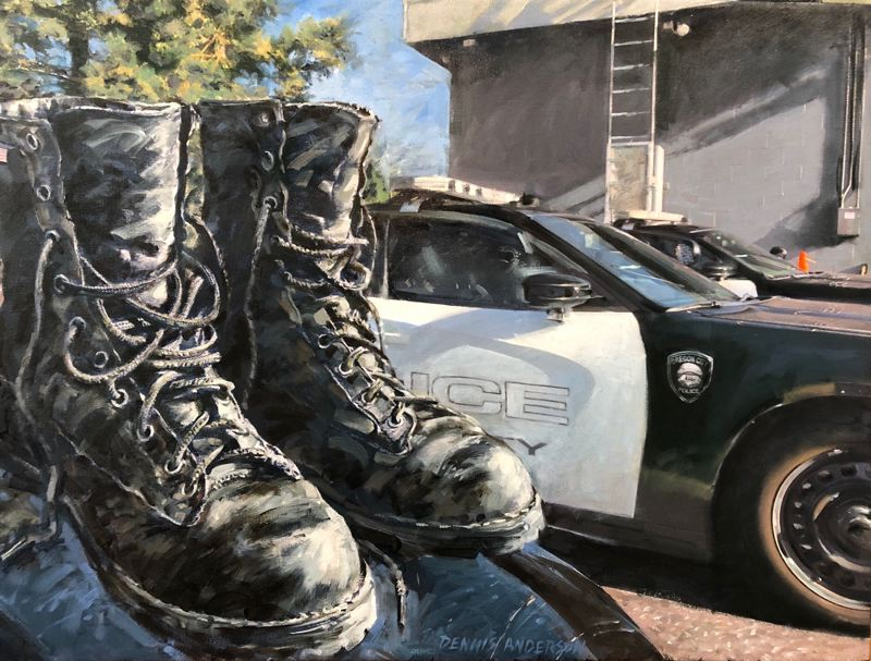 COURTESY PHOTO - Oregon City resident and retired art professor Dennis Anderson gave a painting of fallen Officer Rob Libke's boots that will be placed in the police department's new lobby.