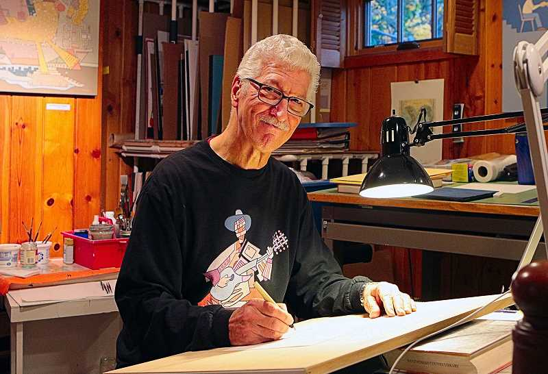DAVID F. ASHTON - Artist Alan Rose doodles at his drawing table, while wearing a shirt imprinted with one of his designs.
