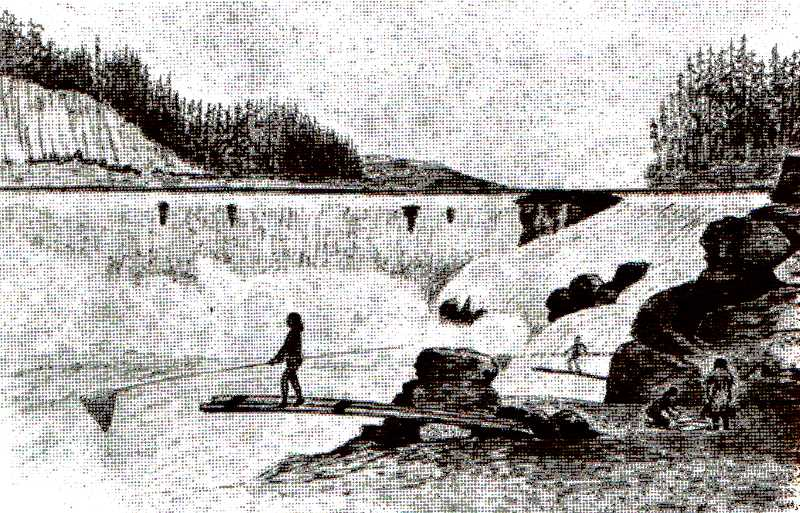 COURTESY STEVE DIETZ, CLACKAMAS HISTORICAL SOCIETY - Native Americans shown platform-fishing at Willamette Falls, in a drawing by artist Joseph Drayton, made during an expedition around 1840. The native women at the right of the sketch are preparing the caught fish for evening meals.