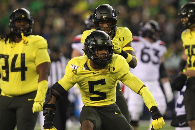 PMG PHOTO: JAIME VALDEZ - Oregon Ducks defensive end Kayvon Thibodeaux (5) reacts after making a play against the Arizona Wildcats on Saturday at Autzen Stadium.