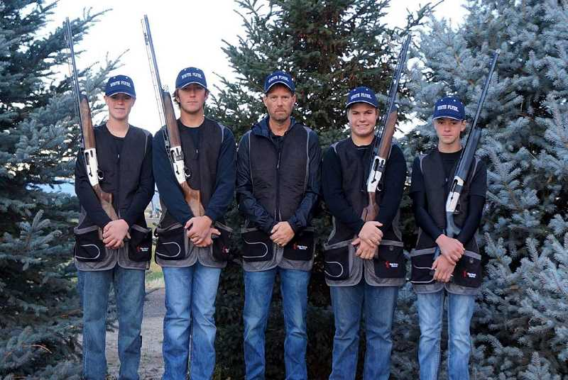 SUBMITTED PHOTO - Seth Colton, Carson King, James Lange and Logan Lee, along with coach Kevin Tollefson, will represent the state of Oregon in the Shotgun Discipline.