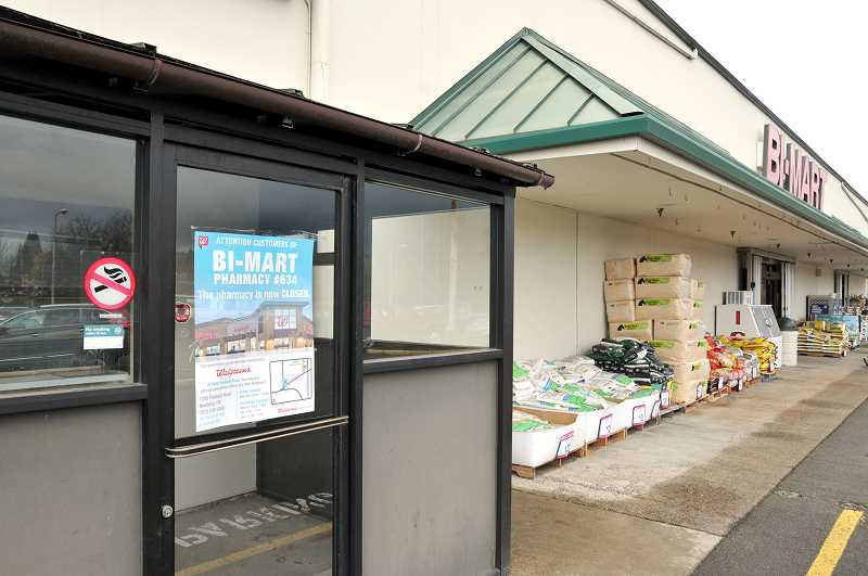 GRAPHIC PHOTO: GARY ALLEN - The pharmacy at the Bi-Mart store in Newberg joined dozens of others across the state in being shuttered.