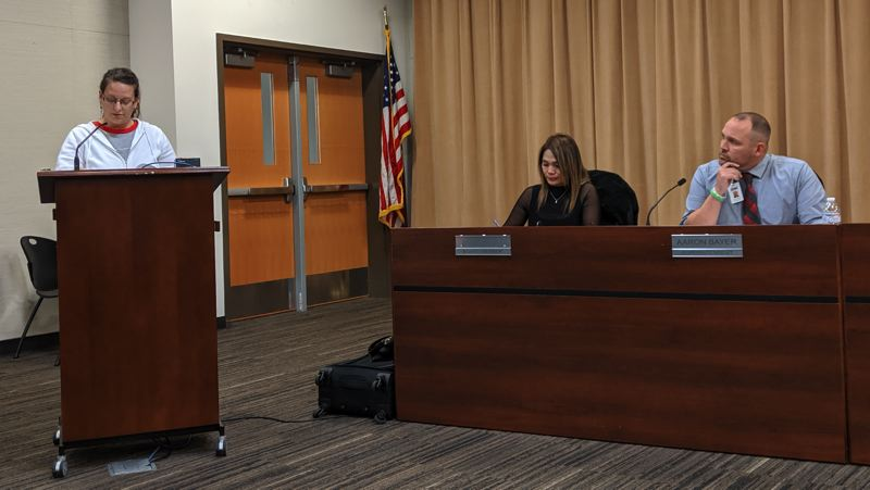 PMG PHOTO: BRITTANY ALLEN - WEA President Megan Smith was one of four reps from the union to talk at the Nov. 12 school board meeting.