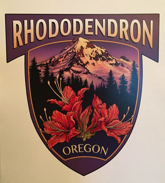 COURTESY PHOTO - In 2018, the Rhododendron CPO hosted a logo contest and local artist Laurie Crabbs design was voted to represent the community. It is now featured on shirts and other merchandise.