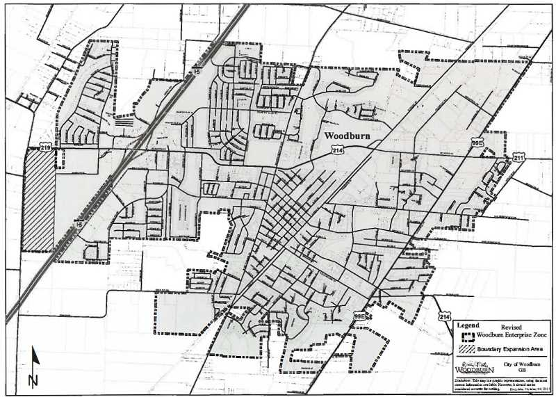 COURTESY OF CITY OF WOODBURN - Map of the Woodburn-Gervais enterprise zone shows the location of the 108 acres at the far west of town added to the zone by Woodburn City Council on Tuesday, Nov. 12, 2019.