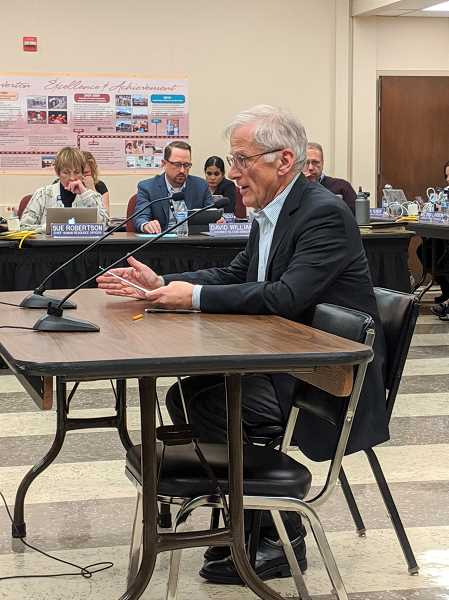 PMG FILE PHOTO - Jim Scherzinger, interim chief financial officer for Beaverton School District, addresses gives a financial update to the school board in October. The district has appointed Mike Shofield to take over the role, starting in December.