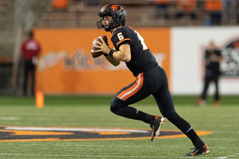 PMG PHOTO: CHRISTOPHER OERTELL - Oregon State quarterback Juke Luton has been on a steady rise since he was able to return from a thoracic spine fracture and concussion he suffered in a 2017 game at Washington State.