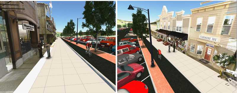 COURTESY RENDERING  - The streetscape project will will increase the number of parking spaces along the street, create new pathways for cyclists and increase sidewalk space in front of businesses.
