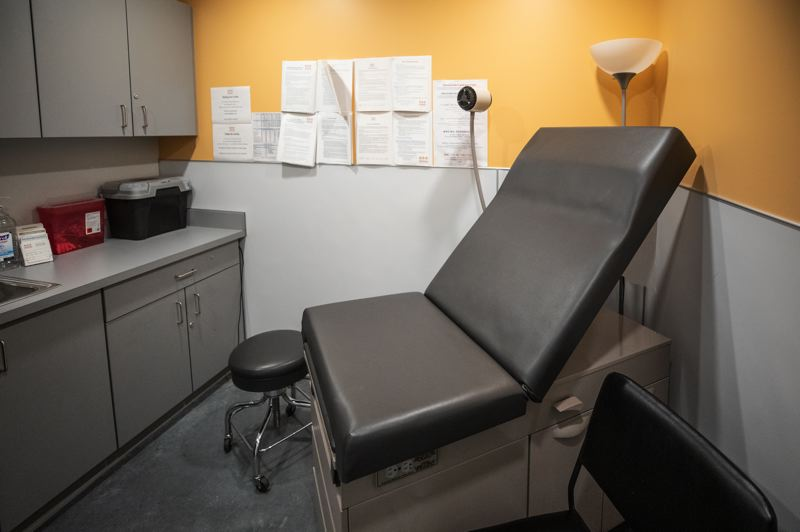 PMG PHOTO: JONATHAN HOUSE - The medical exam room at Harbor of Hope's River District Navigation Center.