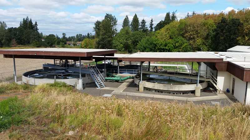 PMG:COURTESY MOLALLA PUBLIC WORKS - This view of Molalla's waste water treatment plant shows the lagoons in the background where the water rose almost to the top during the periods with no rain in October and early November, which DEQ provided a permit for Molalla allowing the city to discharge effluent into the Molalla River even though the river wasn't running high and fast.
