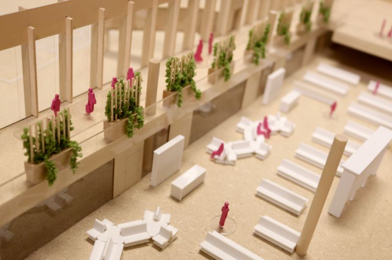 PMG PHOTO: ZANE SPARLING - Plantings will intertwine with trellises on the mezzanine level of Concourse B, according to a model prepared by ZGF Architects