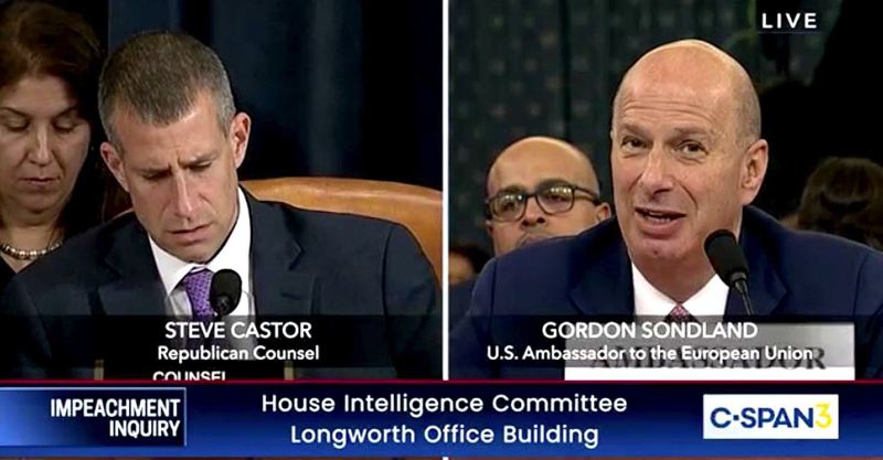 COURTESY PHOTO: C-SPAN - EU Ambassador and Portland hotelier Gordon Sondland answered questions for nearly 40 minutes from Republican Counsel Steve Castor during Wednesday, Nov. 20's House Intelligence Impeachment Inquiry.