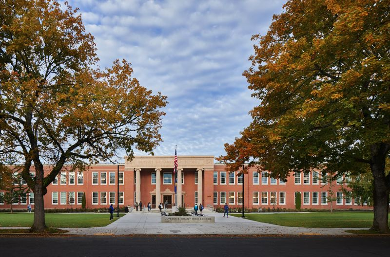 PMG PHOTO: BRIAN LIBBY - In redesigning Grant High School, Mahlum Architects struck a balance between creating a handsome new brick wing and clarifying the buildings original classical revival design.
